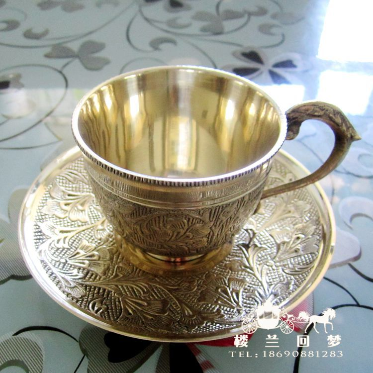 Pakistan India Coffee copper bronze wine cup cup and saucer teacup handicrafts import(China (Mainland))