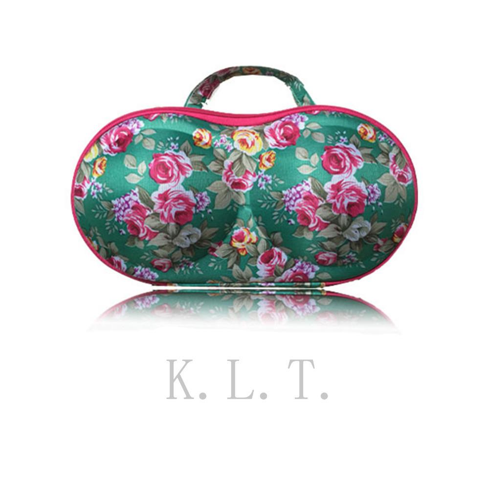 1PCS New Green Floral Women underwear storage box covered bra socks travel portable bra bag(China (Mainland))