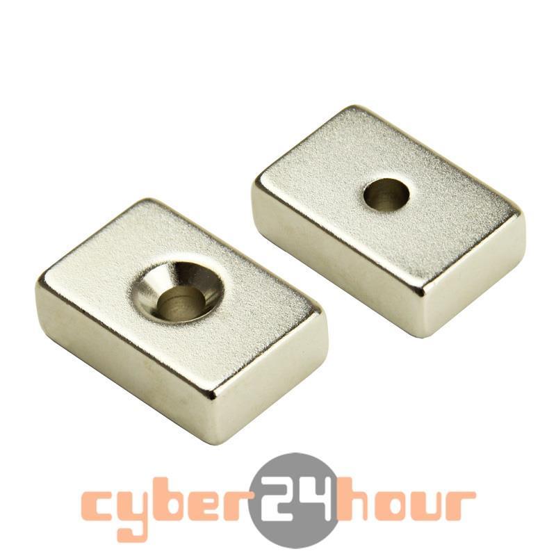 Гаджет  5pcs Block Countersunk Magnet 30mm x 20mm x 10mm Hole 5mm Rare Earth Neodymium None Строительство и Недвижимость