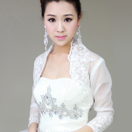 Colour bride bubble short-sleeve spring and summer rhinestone lace formal dress wedding wrap white outerwear married shrug(China (Mainland))