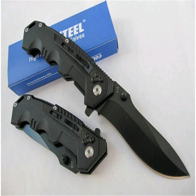 2015 Cold Steel HY217 Folding Black Blade Knife 20.1cm Overall Length Camping Knives Steel Hanlde HY217(China (Mainland))