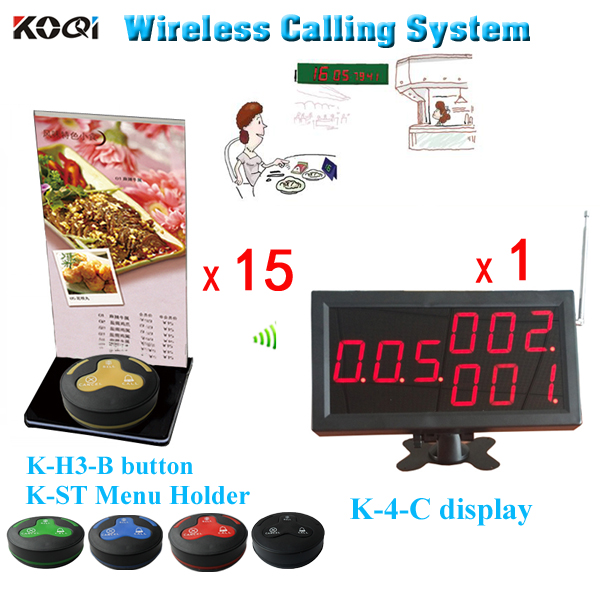 Waiter Button System K-4-C+H3-B+ST For Restaurant Service With Call Button And led Display DHL Shipping Free(China (Mainland))