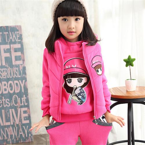 Retail Girl Hoodies Set 2016 Children Clothing Sets Girls Sport Suit Hoodies+Pants+Vest 3pcs/set Casual Clothes Kids Sportswear