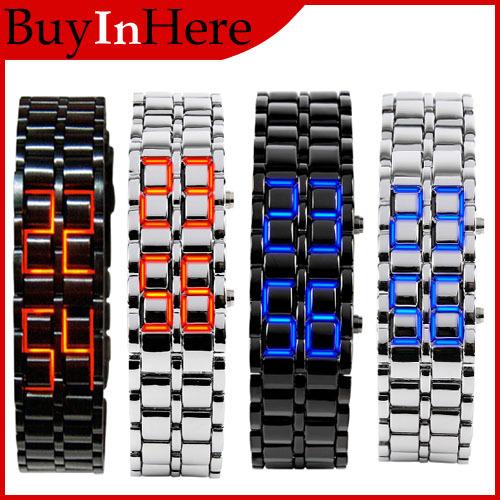 Men Lady Fashion Women Style Lava Iron Samurai Metal Digital Red/Blue LED Faceless Bracelet Luxury Wrist Watch WristWatch - Adison Technology Co.,Ltd store