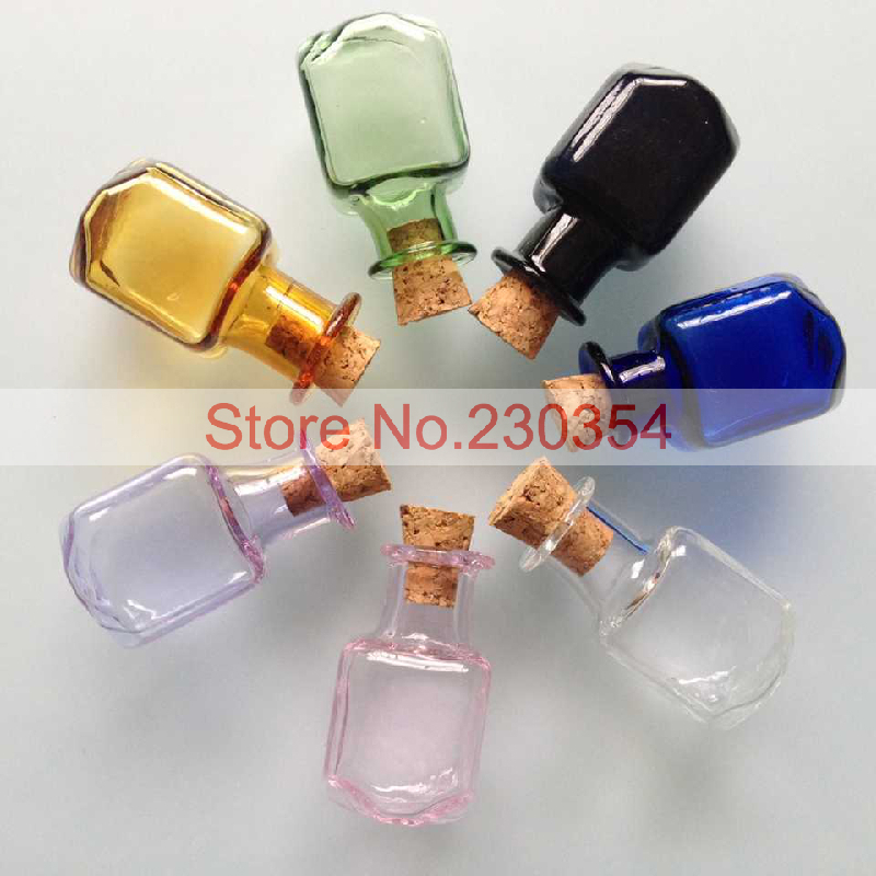 20pcs2ml square glass bottles cork stoppers small glass for Colored glass bottles with corks