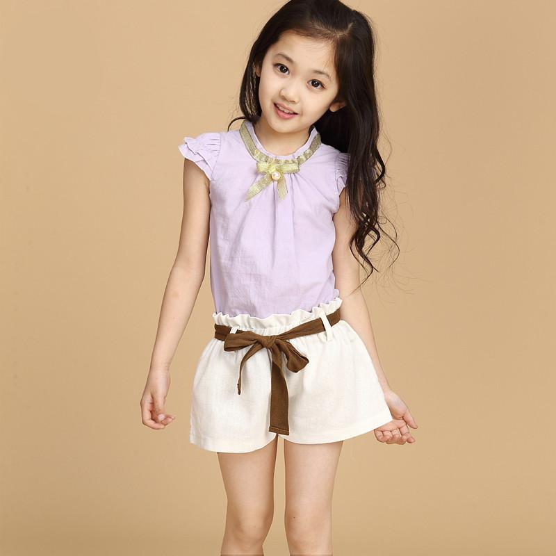 2015 New Children's Summer Korean Girls Suit Shorts Two ...