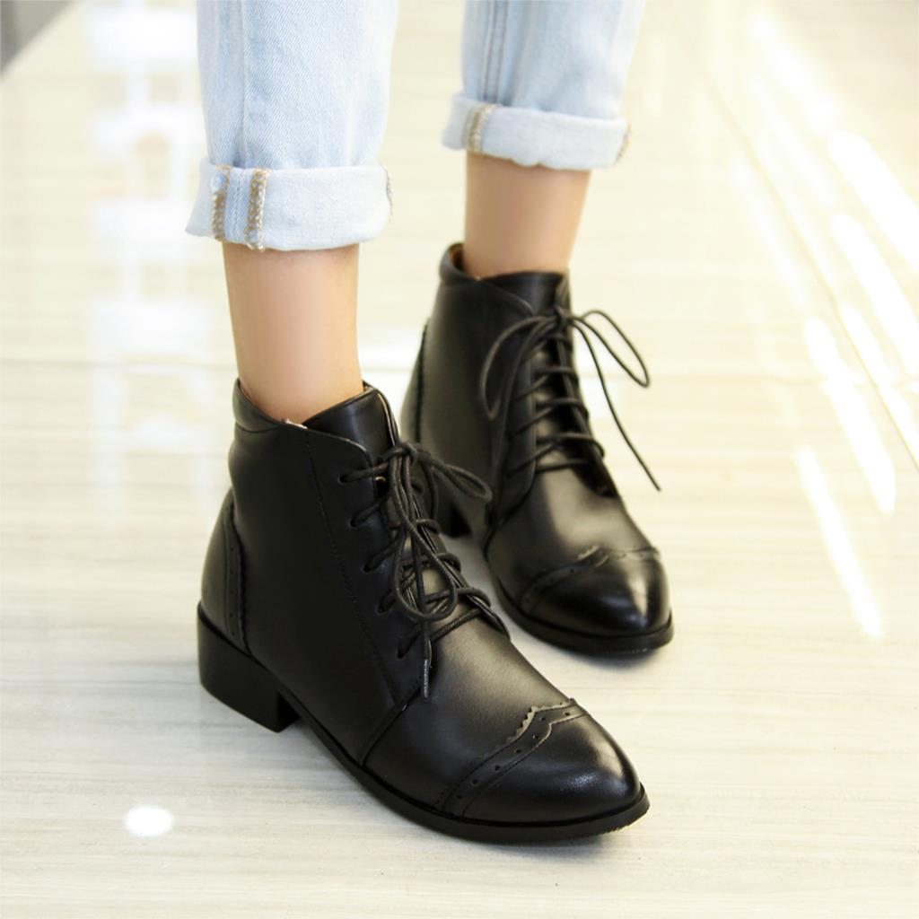 Womens Boots Lace Up Low Heel - Is Heel