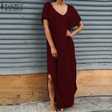 Buy Zanzea Fashion Women Summer Long Dress 2017 V Neck Short Sleeve Maxi Split Sexy Party Dresses Plus Size Casual Cotton Vestidos for $10.84 in AliExpress store