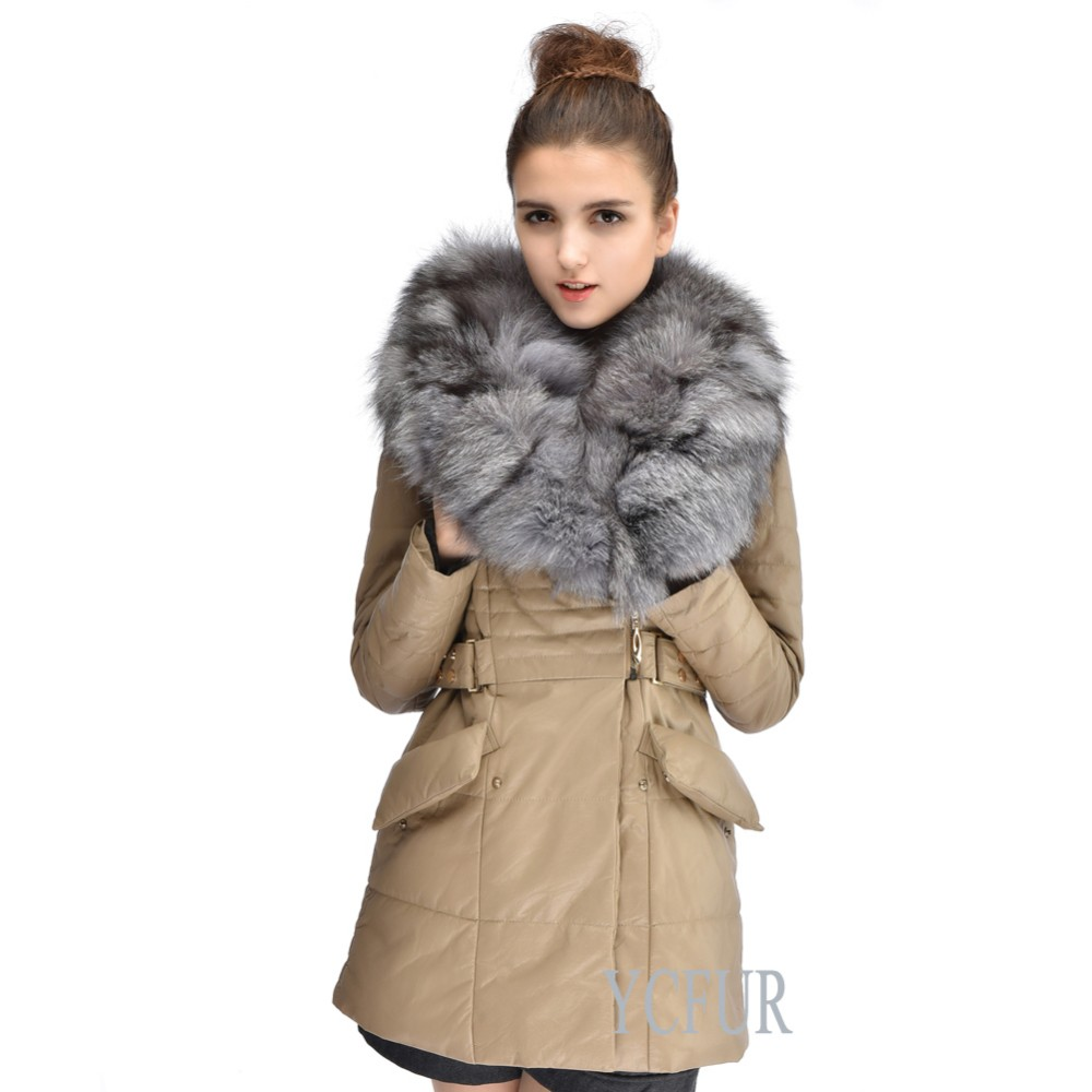 Women Winter Jackets 2 Colors Genuine Sheep Leather Down Coat With Fox Fur Collar Trims Warm Winter Fur Coats Outwear YC1068