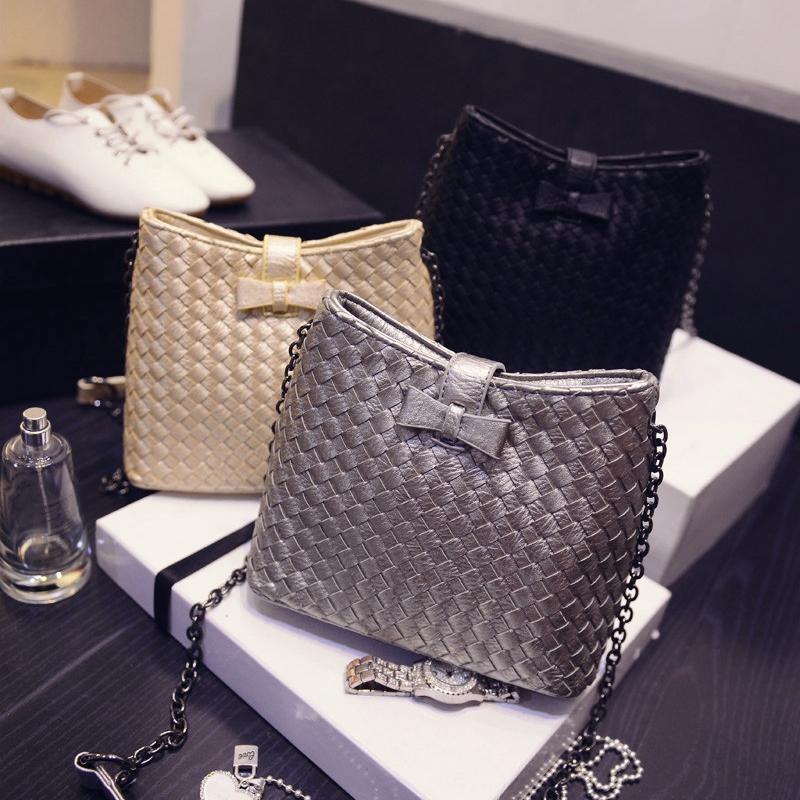 Promotion New Design 2015 Summer Women Weave Chain Bag Single Shoulder Bag Black Zipper Bags Handbag Casual Lady Bag(China (Mainland))