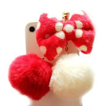 Double hair ball rhinestone bow  for apple   s mobile phone dust plug earphones