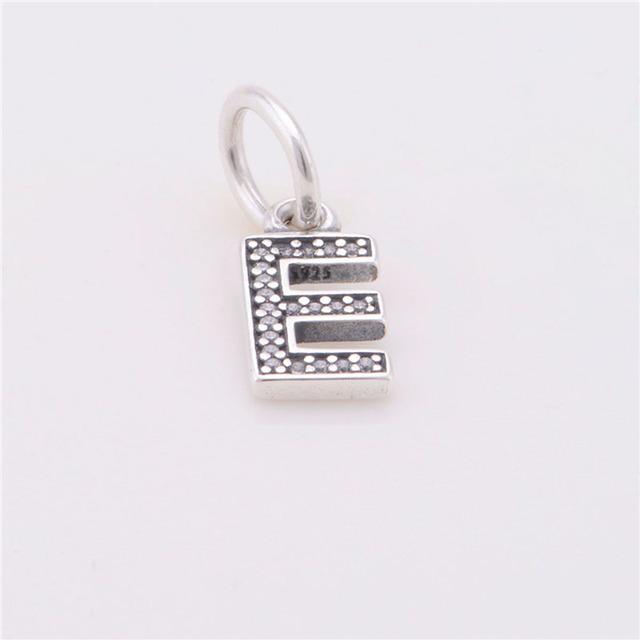 Подходит пандоры прелести браслет 100% 925 серебро болтаться бусины лаки буква E неискрящий очарование DIY ювелирных оптовая продажа