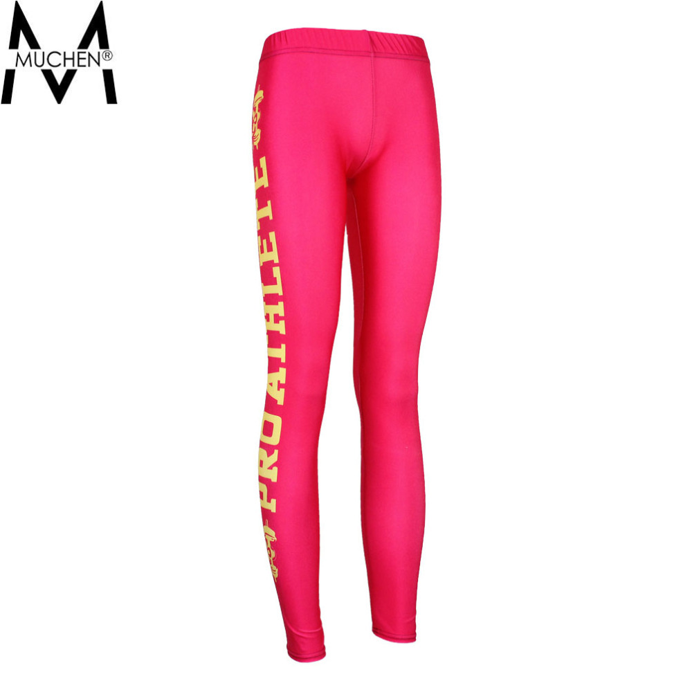 MUCHEN 2015 Women Red Leggings Yellow Side Letters Sports Pants Force Exercise Elastic Fitness Running Trousers