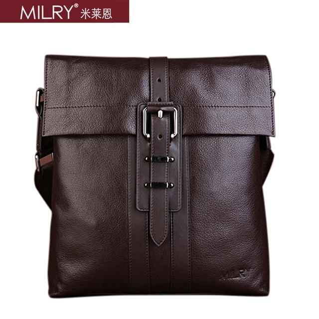 Fashion Brand Milry 100% Genuine Leather  bag for men shoulder bag casual Messenger Bag men cross body satchel COFFE CS0006-2