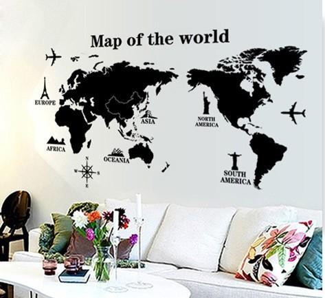 Grande mapa do mundo adesivos de parede stencil decora o for Decalque mural