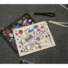 2016 Multi-functionNew Cartoon Design Personalized Fashion Envelope Bag Clutch Purse Handbags Casual Shoulder Bag Black & White