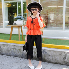 Buy Kids Girls Clothing Sets Summer 2017 Girls Blouse Top & Lace Capri Pants 2 Pieces Suits Set Children Clothes Pink Orange Outfits for $17.99 in AliExpress store