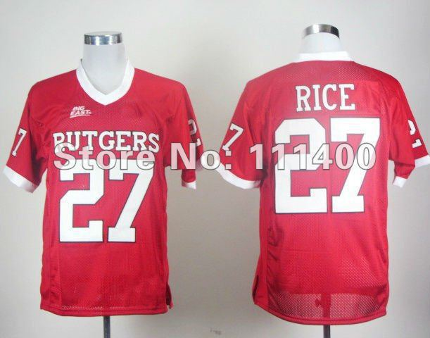 New Good Quality Rutgers Scarlet Knights 27 Ray Rice Red Big East Patch football jersey,embroidery Logo size-4XL(China (Mainland))