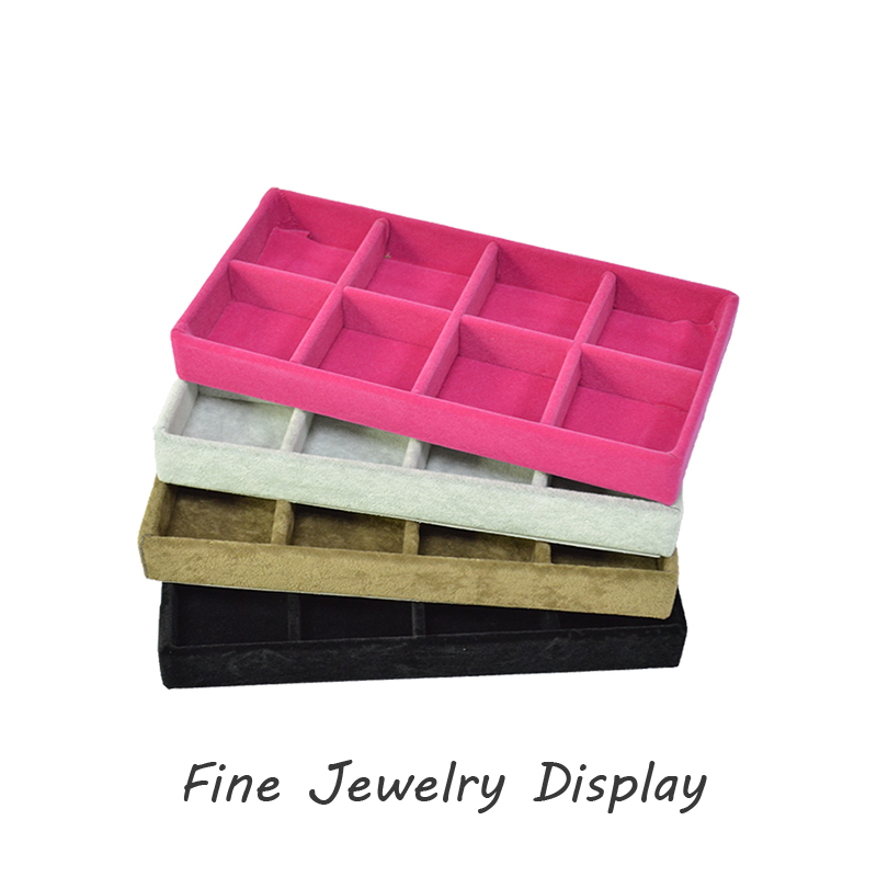 Retail Small Portable Jewelry Store Display Case Velvet Exhibitor Earrings Organizer Jewelry Storage Container Beads Box 11*22CM(China (Mainland))