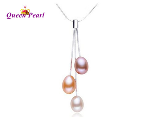 HOT 925 Sterling Silver Necklace Chain, Real Freshwater Pearl Pendant Necklace 8-9mm Big Pearl Size, Nice present(China (Mainland))