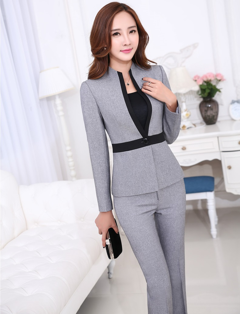 Beautiful Fashion Women Suits Set 2017 Office Lady Long Blazers Plaid Pants Suit