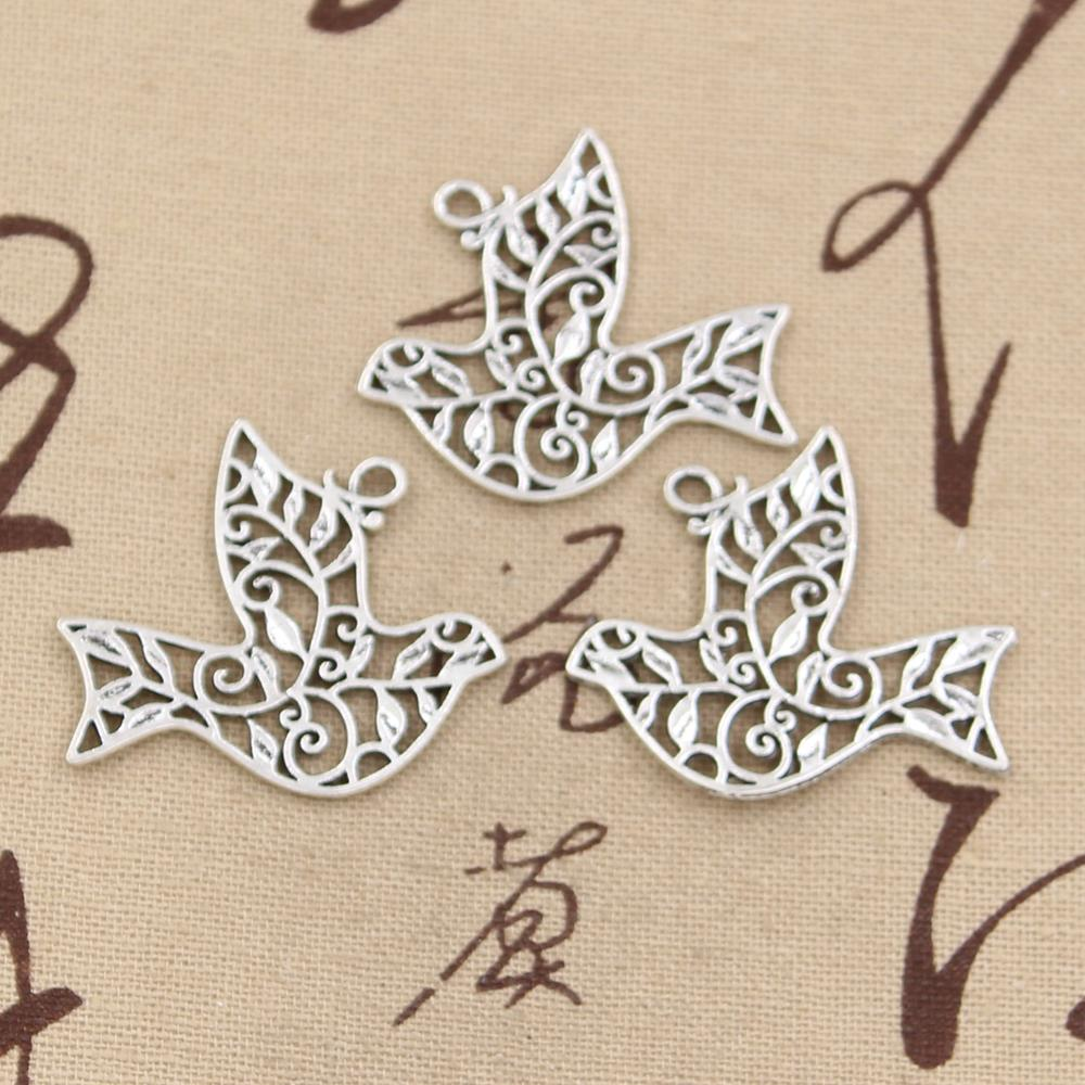 10pcs Charms hollow peace dove 36*32mm Antique pendant fit,Vintage Tibetan Silver,DIY bracelet necklace