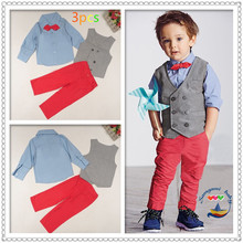 Retail children's clothing sets t5512 baby boys vest+blue long sleeve shirt with bow+pants trousers 3 pcs kids clothing suit(China (Mainland))