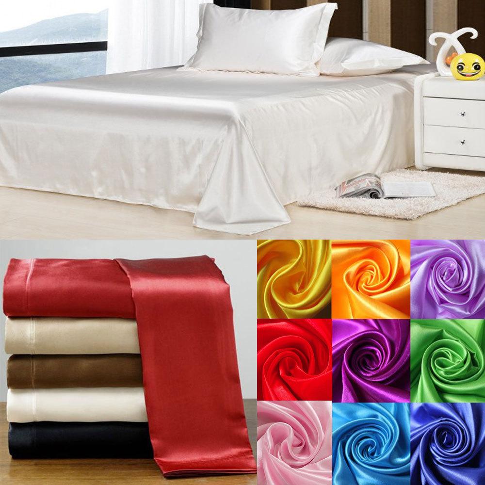 Wholesale!100% Soft skin SATIN SILK BED SHEET PILLOWCASES WEDDING bedding set,sabanas bed linen silk bed sheet set,ropa de cama(China (Mainland))