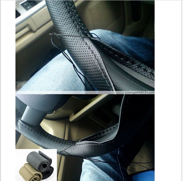 New Universal DIY PU Leather Hand-stitched Car Auto Steering Wheel Cover Case Leather steering wheel(China (Mainland))