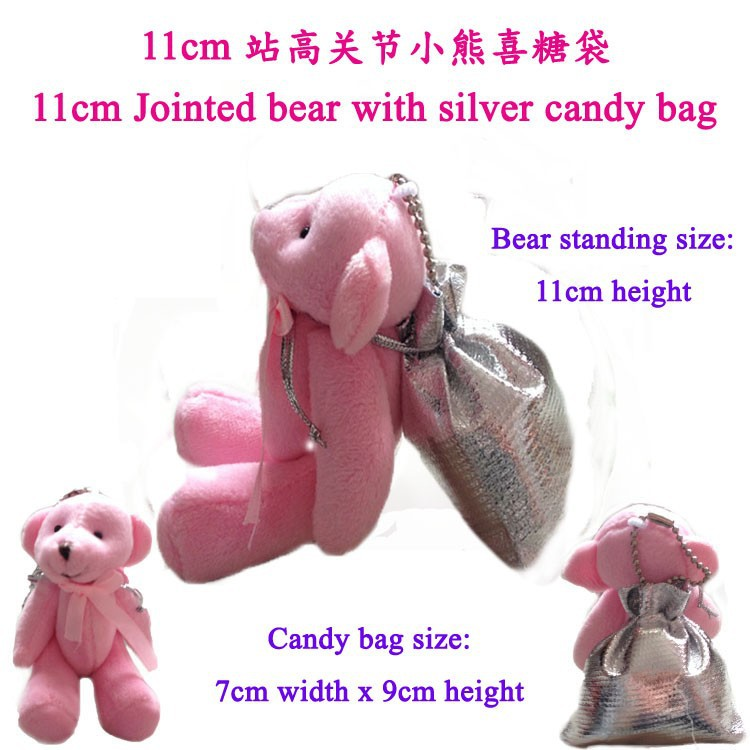 1 piece, Free Shipping Originality Hi-Q Little Bear Haversack Candy Bag, stuffed jointed bear with candy bag t(China (Mainland))