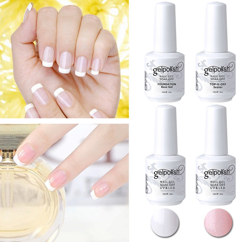 Elite99-LED-UV-Gel-Polish-French-Manicure-Set-2-Color-Top-Base-Coating