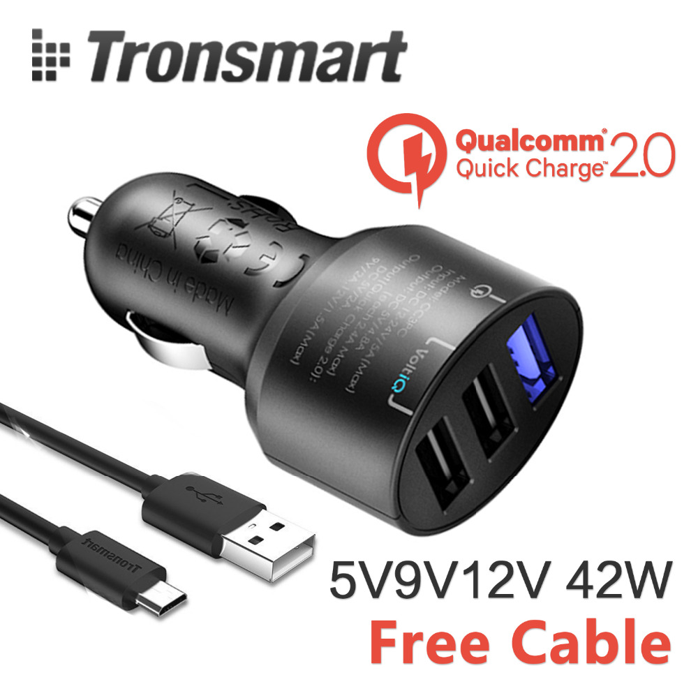 [Qualcomm Certified] USB Car Charger Tronsmart Quick Charge 2.0 42W 3 Ports USB Rapid Car Charger for Galaxy S6 Edge Plus Note