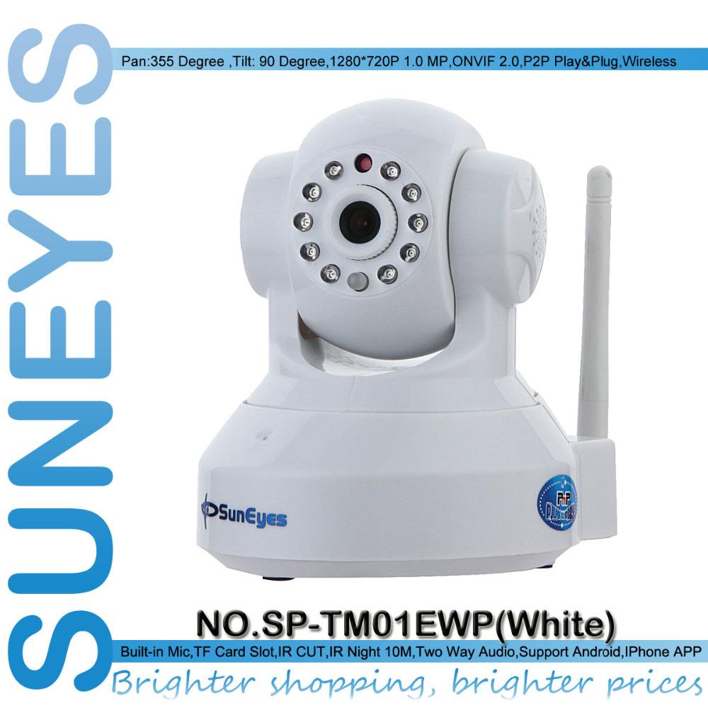 SunEyes SP-TM01EWP 720P HD Megapixel P2P Wireless IP Camera Pan/Tilt two way audio TF Micro SD Card Slot Free APP - SUNEYES official store