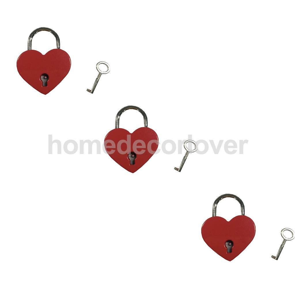 Retro Mini Padlock Heart Shape Key Lock Small Suitcase Diary Red Lot of 3(China (Mainland))