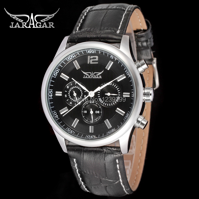 Hot sale 2015 NEW JARGAR JAG6458M3S4 automatic silver men dress wristwatch,black leather strap watch for Men,free shipping(China (Mainland))