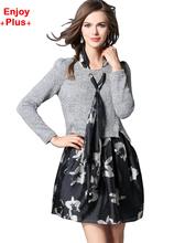 ENJOY PLUS 10%OFF chest 97 -117cm XL-5XL new 2016 gray flower print dress women floral autumn big size long sleeve elegant lady(China (Mainland))
