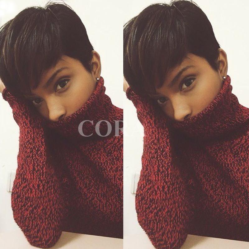 Black Short Pixie Cut Wigs For Black Women Chic Black Human Short Hair Wig African American Short Wigs(China (Mainland))