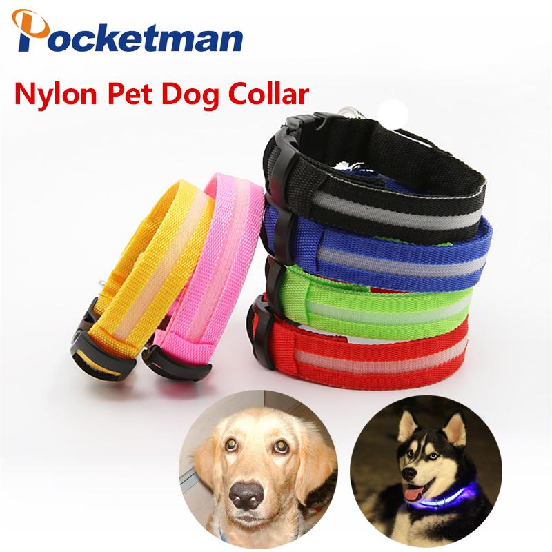 Nylon Pet Dog Collar LED Light Night Safety Light-up Flashing Glow in the Dark Lighted Cat Collar LED Dog Collar zk51(China (Mainland))