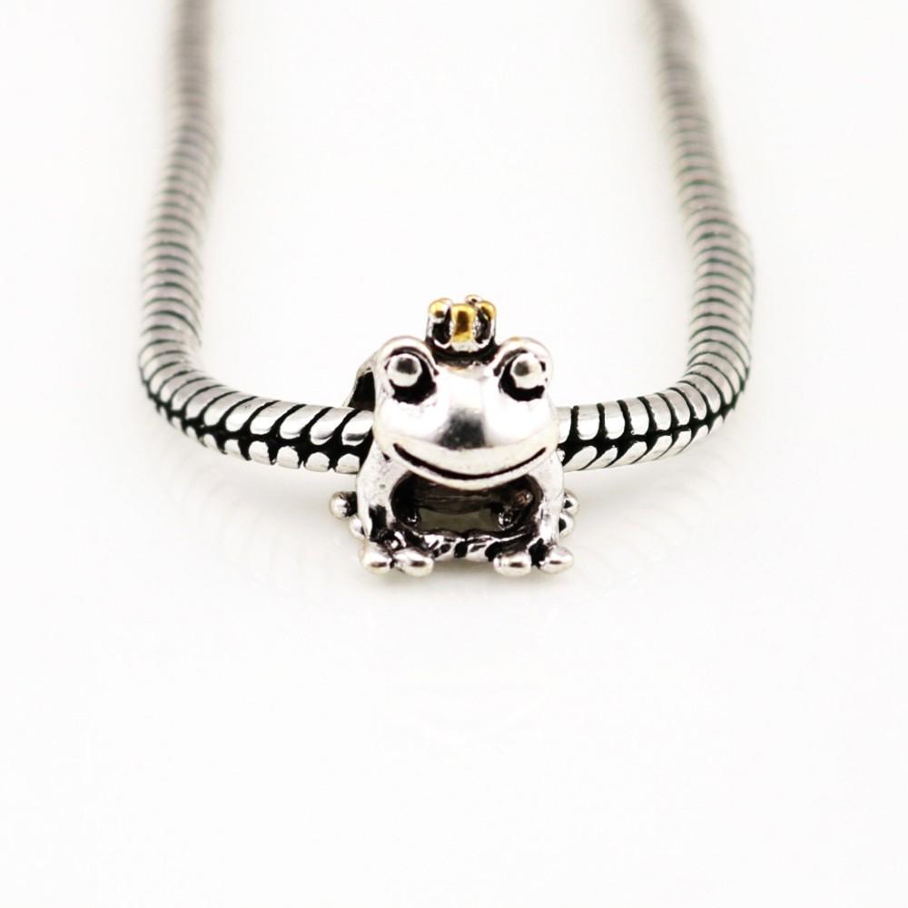 Золотая корона лягушка-серебра подвески подлинная официальный дизайн бусины для мужчин очарование браслеты