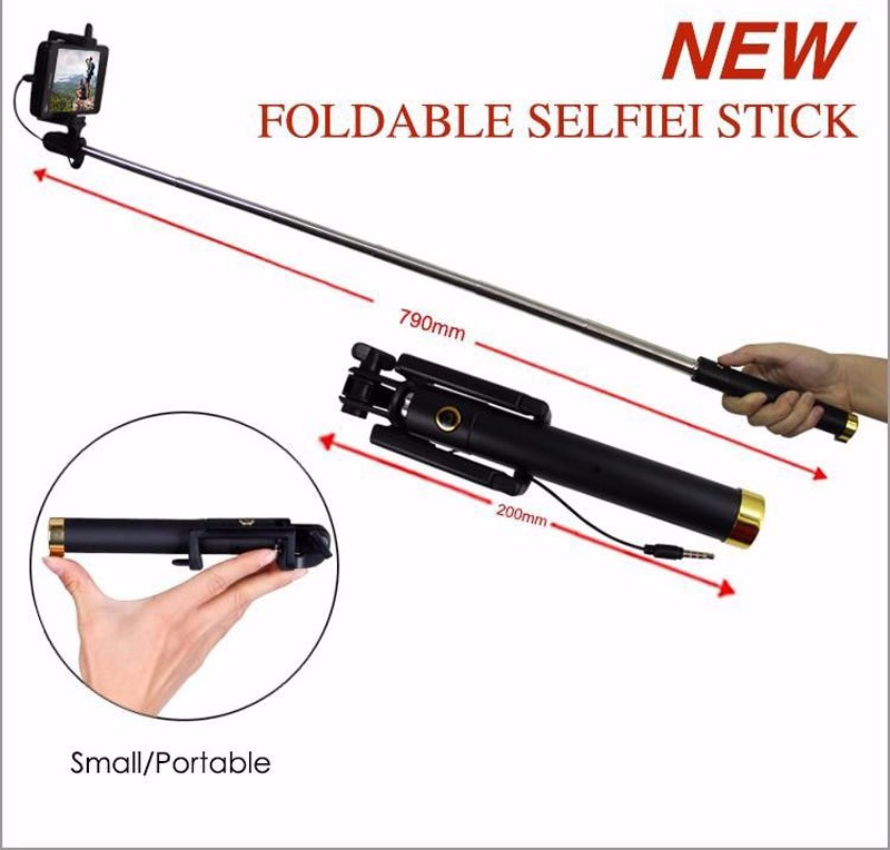 image for KHP Original Portable Wired Selfie Stick For IPhone 4 4S 5 5S 6 6S 7 A
