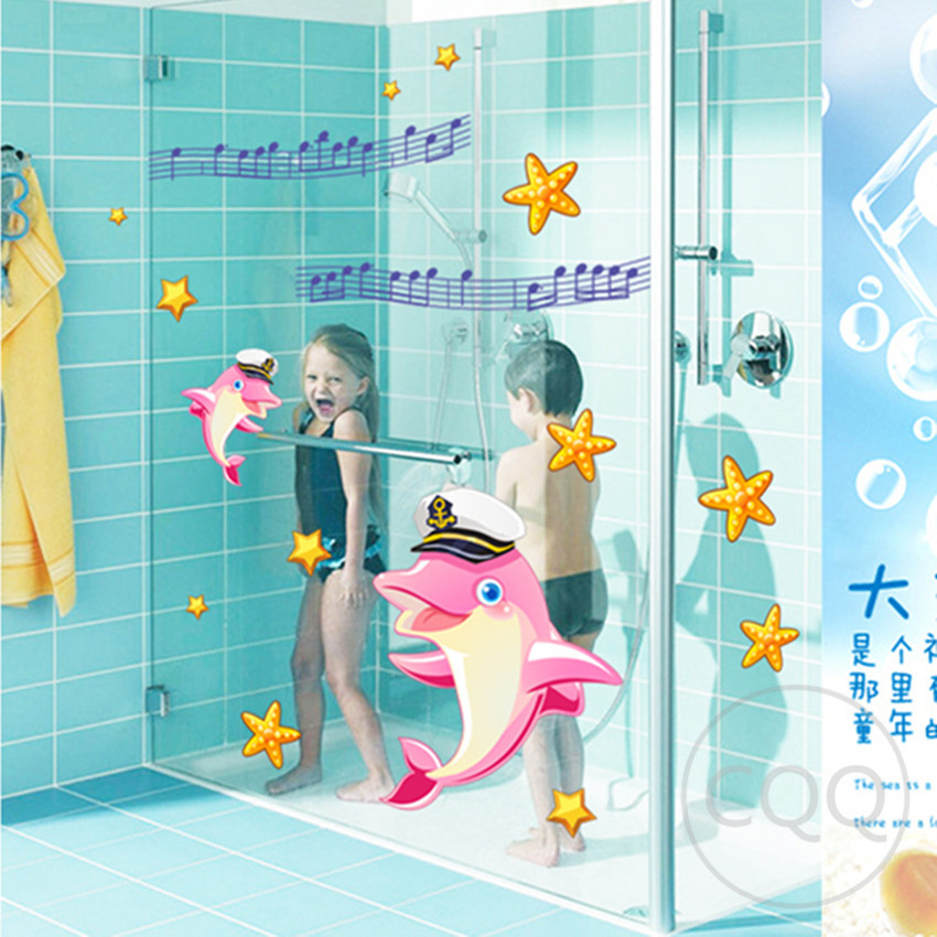 fish sea cartoon wall sticker for shower tile stickers in the bathroom for children kids baby bath AY7162(China (Mainland))