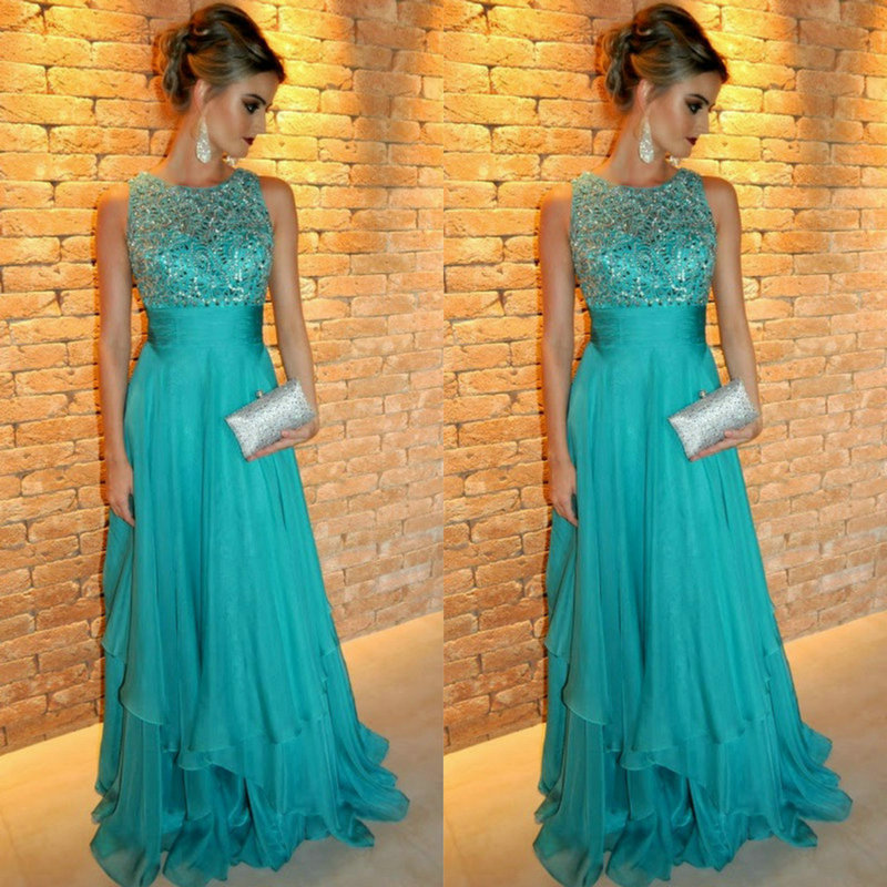 Бирюзовое вечернее платье