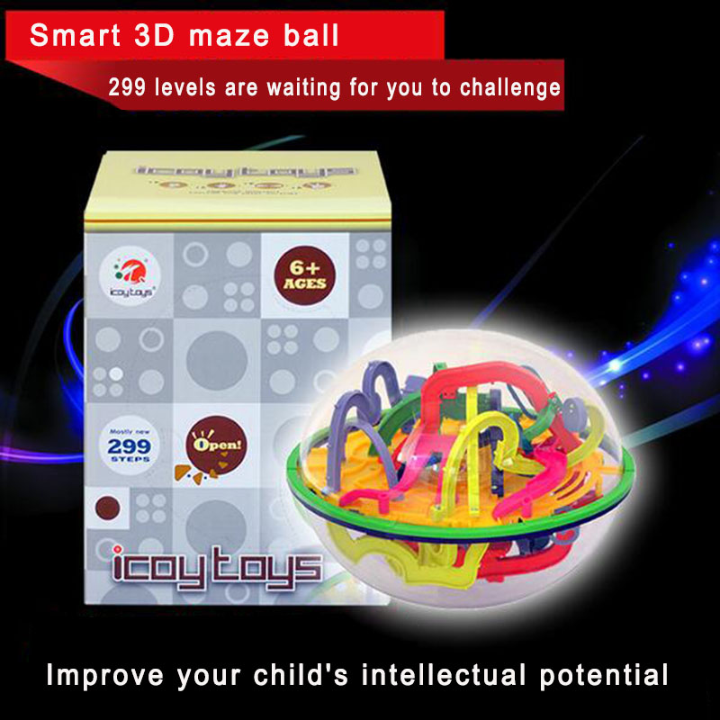 299 Steps Magical Intellect Balance Logic Ability Puzzle Ball Toy Smart 3D Maze Ball Intelligence Challenge Games Training Tools(China (Mainland))