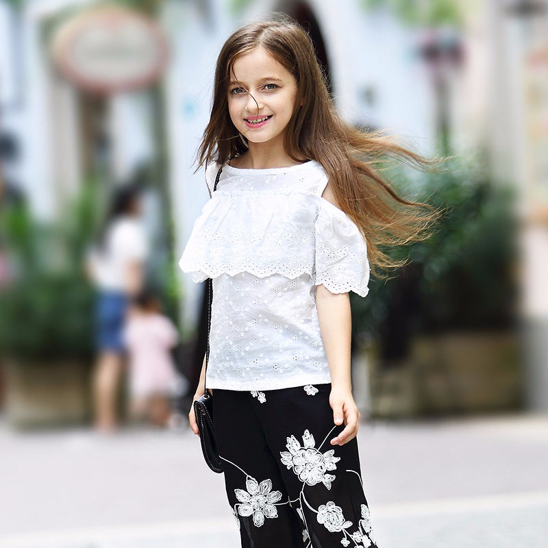 Girls T Shirts Baby Clothes Tops Off Shoulder Shirts Vintage Style Teenage Clothing for Age 5 6 7 8 9 10 11 12 13 14T Years Old