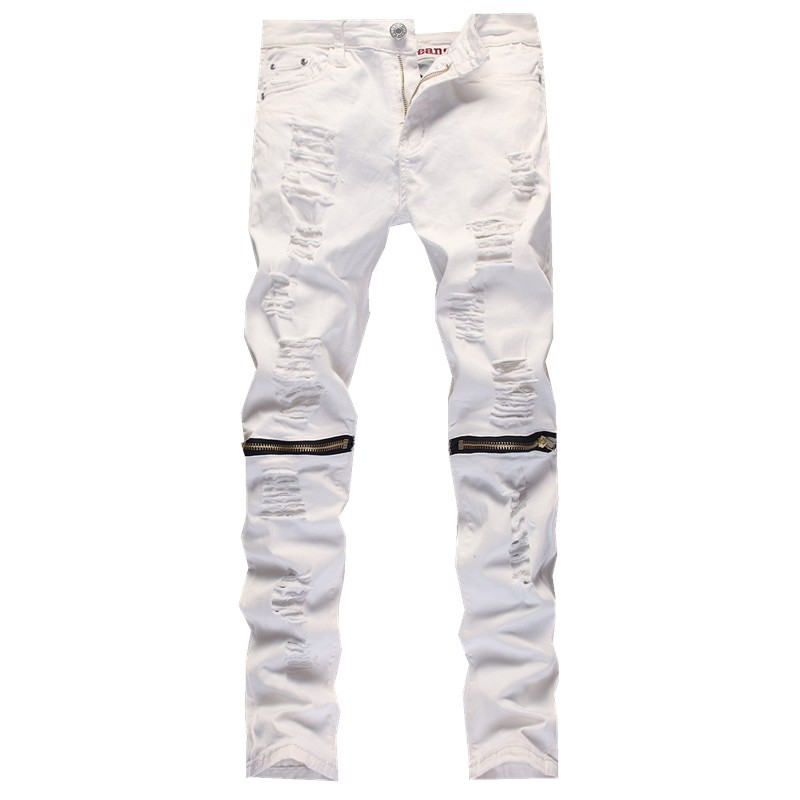 White Knee Cut Jeans Promotion-Shop for Promotional White Knee Cut ...