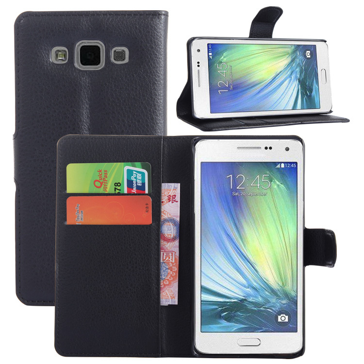 1pcs/lot luxury High Quality wallet Leather Case for SS Galaxy A5 leather case with credit card holder Black White Red(China (Mainland))