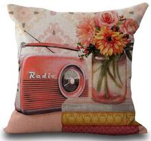 pillow radio. factory supply european and american retro phone camera printing throw pillow case rooms decor bedside back radio
