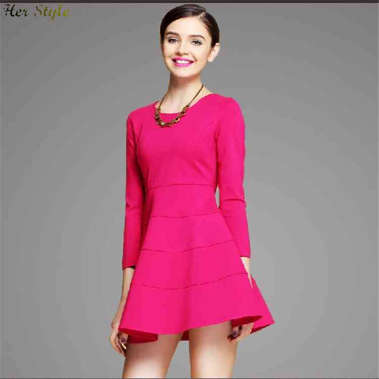 Free Shipping 2014 autumn new long sleeve slim red green pompon dress 1430737407(China (Mainland))