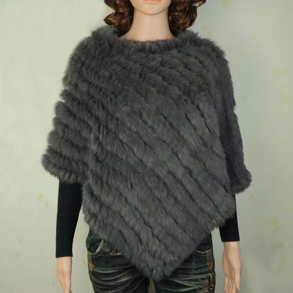Hot Sale Real Fur Pashmina Shawls For Female Handmade Knitted Rabbit Fur Poncho Women Fur Shawl Winter(China (Mainland))
