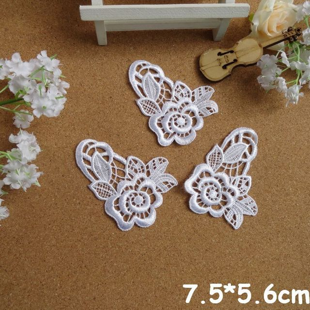 New hot sale 7.6*5.6 White Flower Lace Appliques For Decorations, Garment accessories,DIY appliques